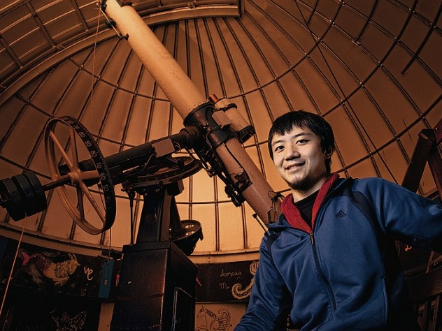 Roger Fu in the Science Center's Loomis-Michael Observatory, where he shows fellow students the skies