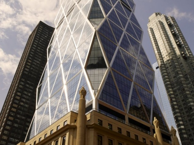 The Hearst Tower, New York City, 2007, incorporates an adaptive reuse of the original historic Hearst building.