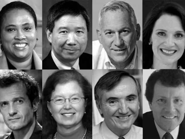 For Overseer: (Top, L-R) Cheryl Dorsey; David Tang; Walter Isaacson; Diana Nelson. (Bottom, L-R): David Heyman; Karen Nelson Moore; Joseph Fuller; Nicholas Kristof
