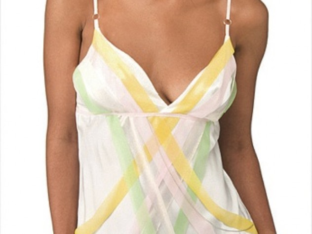 A Colorfield chemise, in silk with mesh streamers
