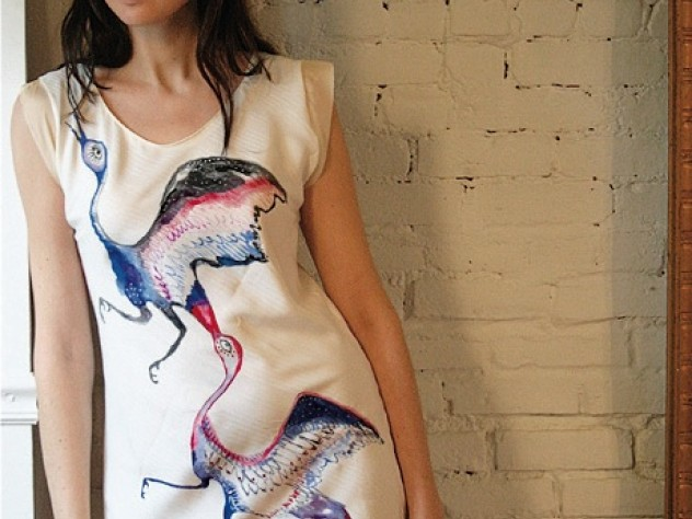 In collaboration with artist Charlotte Pinson, Mehlinger designed this bird-themed dress, hand-painted on silk.