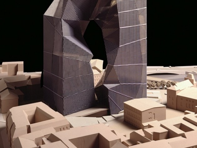 Peter Eisenman's unbuilt design for the Max Reinhardt Haus rethinks the linearity of tall buildings.