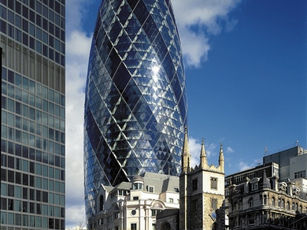 Norman Foster designed the Swiss Re building in London to channel light and air throughout its astral form.