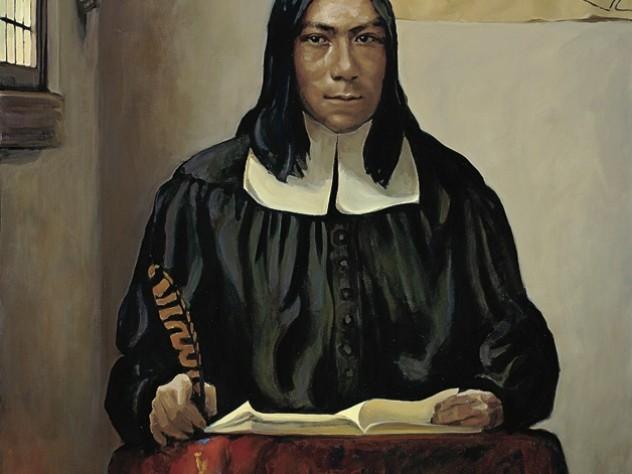 Caleb Cheeshahteaumauk, A.B. 1665, as imagined by Stephen Coit '71, M.B.A. '77
