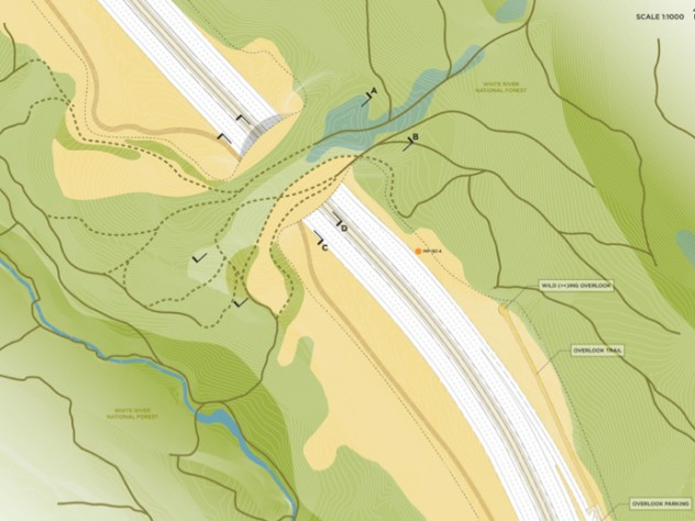 An overview of the site showing vegetation types and the site of a viewing overlook, submitted by Olin Studio