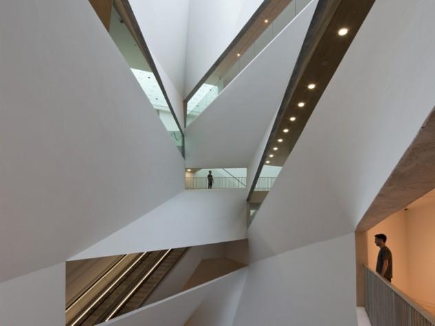 "The new building's 87-foot-high, spiraling ""Lightfall"" atrium"