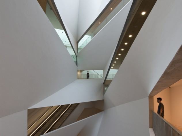 "The new building's 87-foot-high, spiraling ""Lightfall"" atrium"