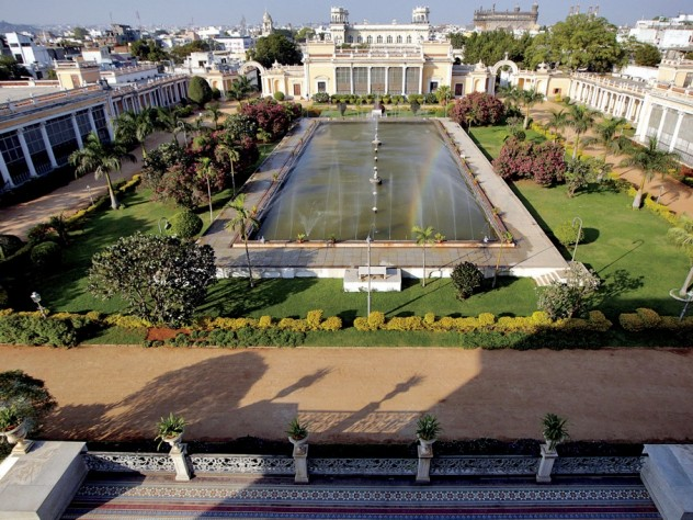 Overview of the main courtyard of the Chowmahalla Palace complex