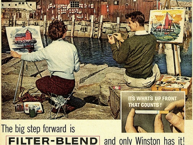 This 1960 cigarette ad highlights Motif No. 1, a favorite artists' subject in Rockport, Massachusetts.