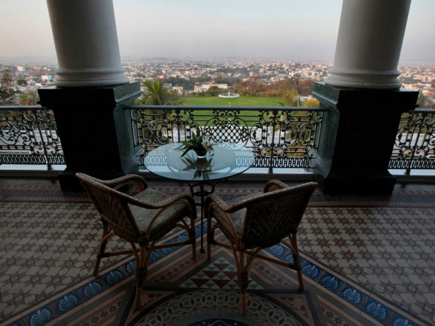 The Falaknuma Palace, another Asaf Jah palace in Hyderabad, looks out over the city. This palace was renovated into India's only seven-star hotel, and is operated by Taj Hotels; Mehrotra's firm consulted on the restoration effort.