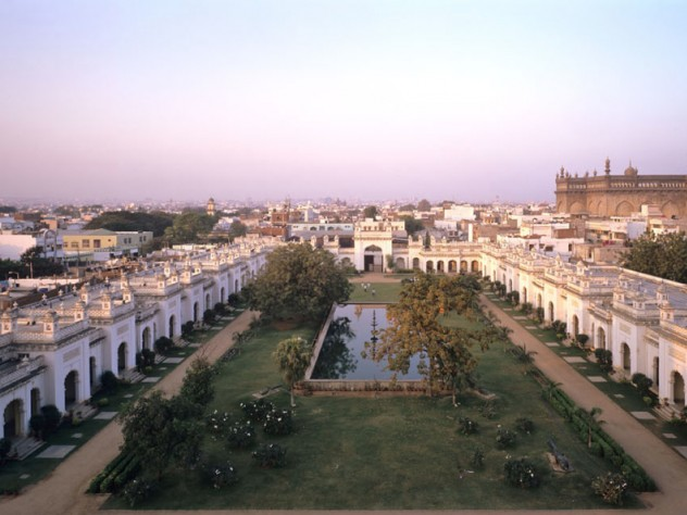"The original ""Chowmahalla"" (the name means ""four palaces"") are part of a sprawling complex that was even larger prior to encroachment during its abandoned years."