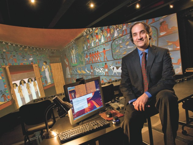 Peter Der Manuelian with a 3-D projection of the subterranean chapel of Queen Meresankh III, discovered and excavated at Giza in 1927 by the Harvard University-Boston Museum of Fine Arts Expedition. This immersive computer model, based on the actual archaeological documentation, uses software powered by Dassault Systèmes, Paris.