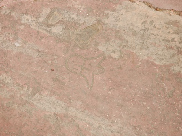Paving stones bear signatures, in an apparent system of keeping track so craftsmen would be paid for their work.