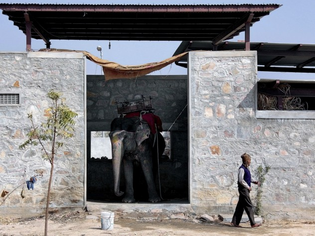 """Mehrotra designed Hathigaon (""""elephant village"""") to house low-paid elephant keepers, their families, and their elephants. Each family's dwelling includes an elephant """"garage"""" with a door that opens outside, not into the inner courtyard, where children can safely play."""