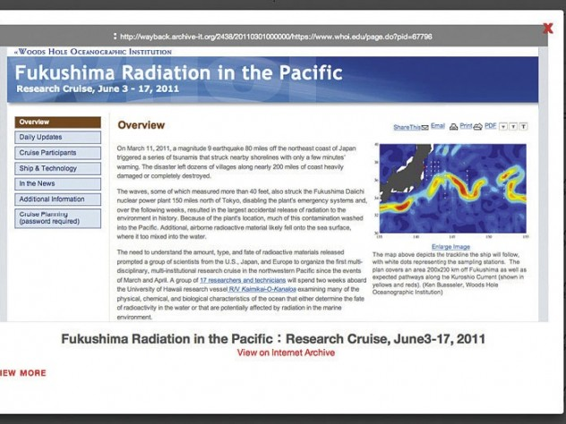 A map of radiation in the Pacific, from the Digital Archive of Japan's 2011 Disasters
