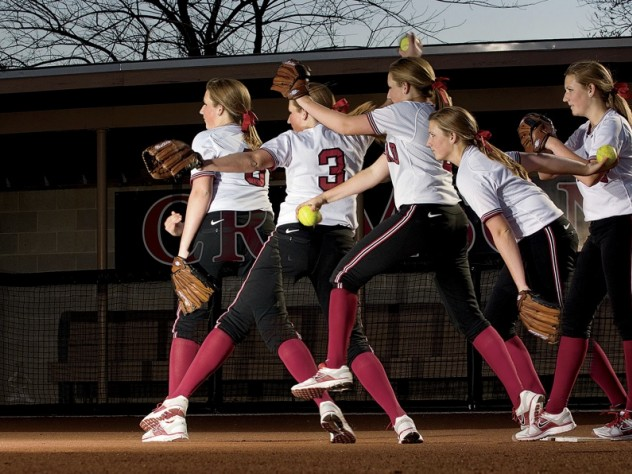 Multiple images of Rachel Brown's pitching motion. Softball pitchers may take one step forward from the rubber while dragging the back foot.