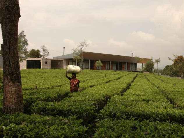 Mehrotra's firm also built a country house for a machine-tool company owner. Mehrotra convinced the owner to keep the tea plants on his property, and allow local people to harvest and sell the tea, rather than replacing the plants with manicured gardens. This strategy helps both the local ecology <i>and</i> the economy.