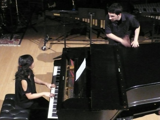 Hanna Choi '12 and Noam Hassenfeld '12 perform at the fall concert.