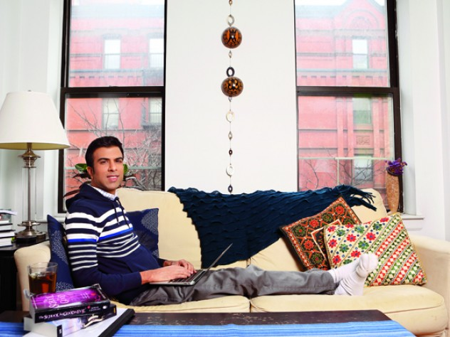 The writer at work: Soman Chainani in his Brooklyn  apartment