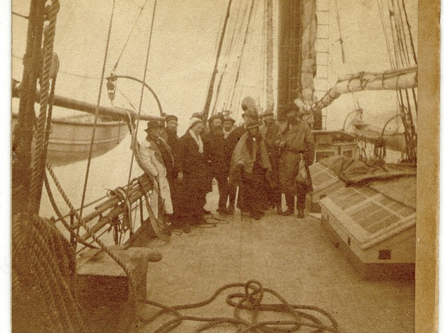 On the <i>Hassler</i> expedition, 1871-1872. Far left, Louis Agassiz; third from left, Elizabeth Agassiz
