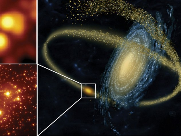 (at right): Artist's rendering of a small galaxy being disrupted by a larger one and (at left) a simulation showing the gains in resolution obtained by using the GMT's adaptive optics (to correct for blurring from Earth's atmosphere) in studying crowded star clusters.