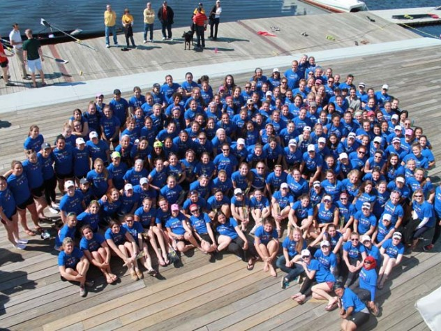 "Teams from Boston College, Boston University, Harvard-Radcliffe, Holy Cross, Northeastern, and MIT went head to head in five crew events, all wearing identical ""Row For Boston"" T-shirts, designed by Corinne Wee '13."