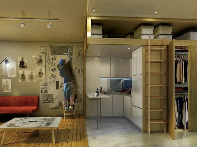 A typical unit, 250 square feet to 370 square feet in size, will have ceilings about 10 feet high, a living area, a bathroom with a full shower, 16 square feet of overhead storage, a Juliet balcony, and a kitchenette.