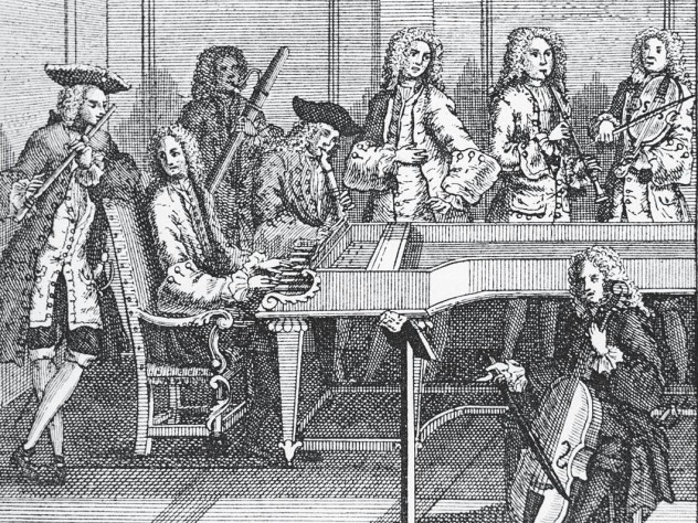 Anonymous print of a chamber music ensemble at the time of Johann Sebastian Bach