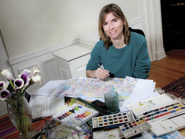 At home in Cambridge, Stossel works at her dining-room table.