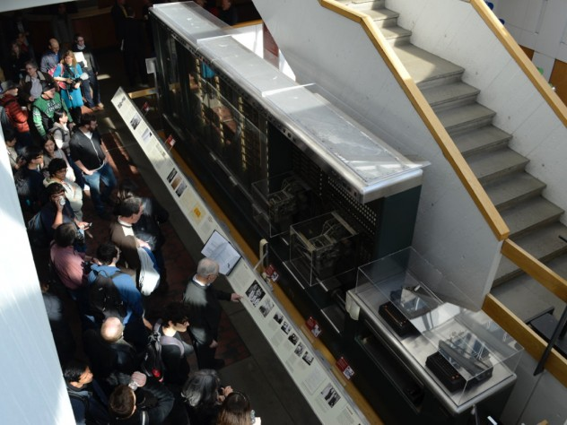More than a hundred people crowded the Science Center lobby to catch a glimpse of the Mark I in action.