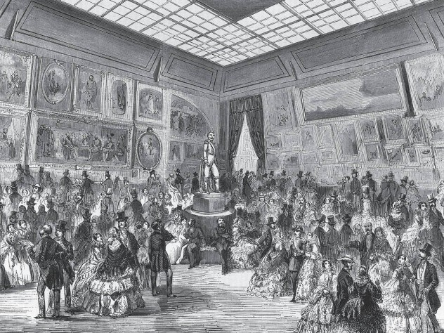 An engraving of artworks displayed at the Salon of 1857, held at the Palais de I'Industrie in Paris