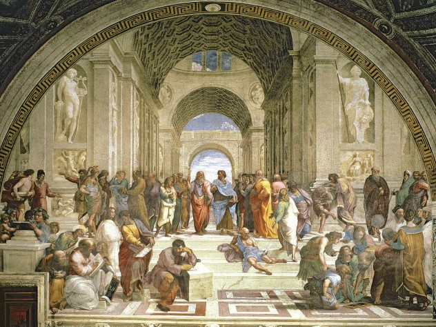 Raphael&rsquo;s famous painting of the School of Athens, with Plato and Aristotle at its center</i>
