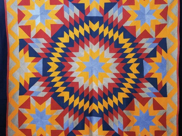 """A """"blazing star"""" quilt, circa 1880-90, probably from Nashville, Illinois. From the Ardis and Robert James Collection."""