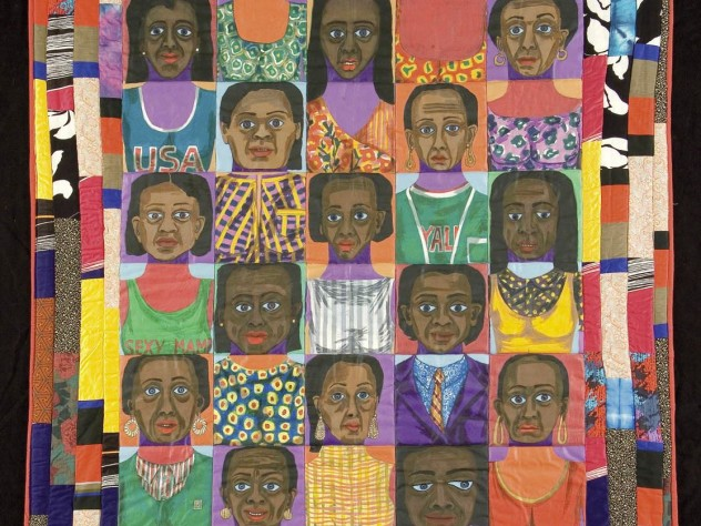 """""""The Women: Mask Face Quilt #1,"""" a 1986 African-American studio-art quilt by Faith Ringgold, New York City"""
