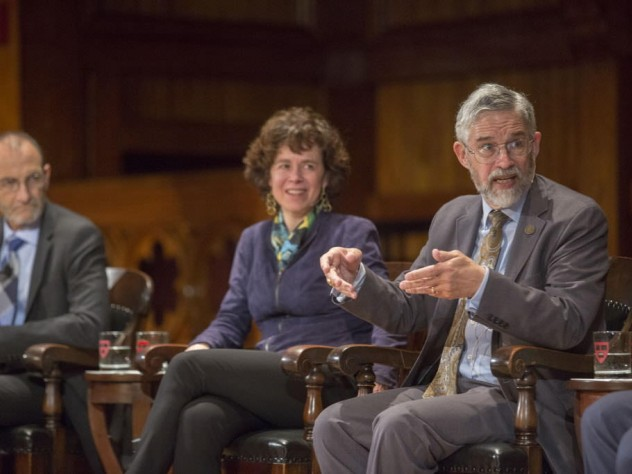 John Holdren, director of the White House Office of Science and Technology Policy, makes a point.