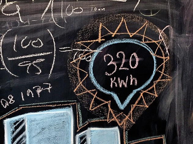 An office blackboard reflects Opower's effort to encourage creativity.