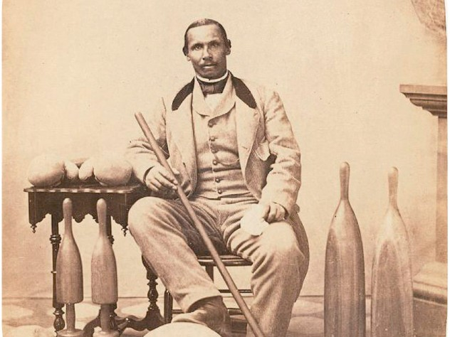 Aaron Molyneaux Hewlett from an album image, with gear, was an instructor and curator of the Harvard Gymnasium, 1859-1871, and thus one of the first African-American faculty members.
