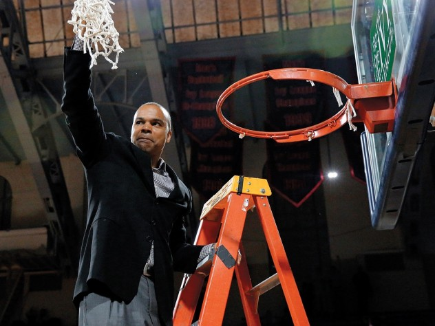 Tommy Amaker, shown here celebrating Harvard's playoff victory over Yale, has led the Crimson to unprecedented heights. Now fans are wondering how much higher his teams can go.