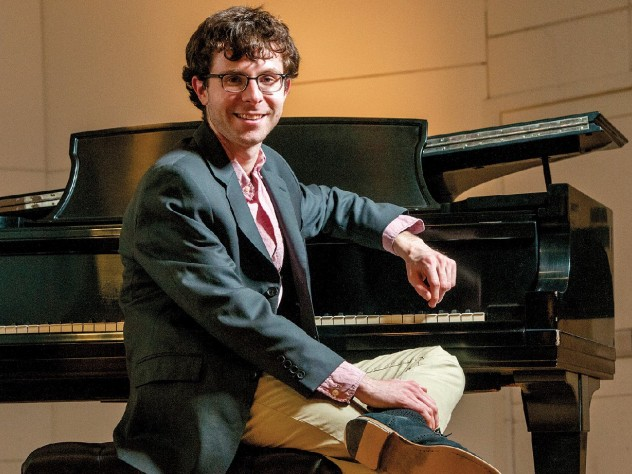 Matthew Aucoin, in Paine Hall for a lecture and recital to preview <i>Crossing</i>.