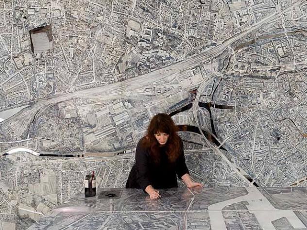 Ellen Harvey in her studio, 2014, working on the unloved