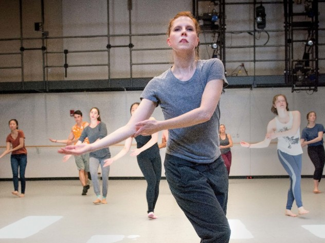 """Dance director and senior lecturer Jill Johnson leading Music 12, """"The Harvard Dance Project"""""""