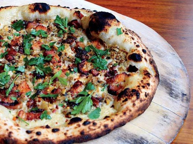 Area Four's clam and bacon pizza