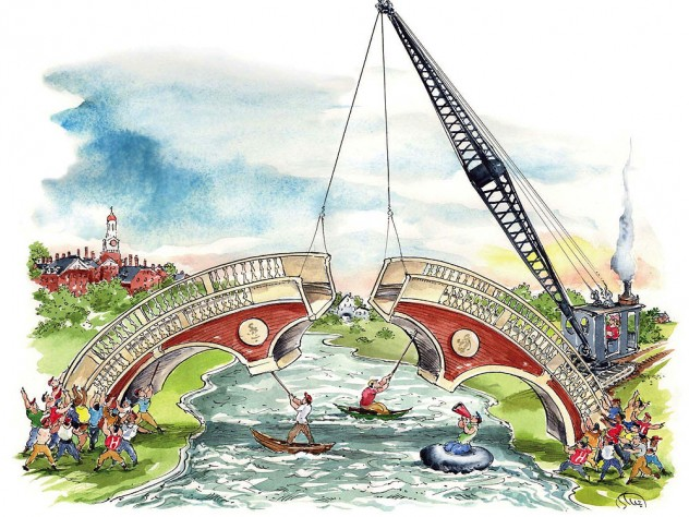 Illustration showing groups on both sides of the Charles River pushing two halves of a brick bridge together to span the river