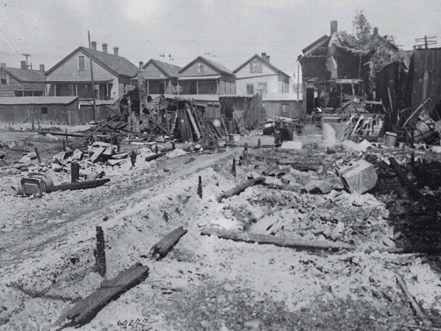 Photograph of homes destroyed by fire in the 1917 East St. Louis massacre