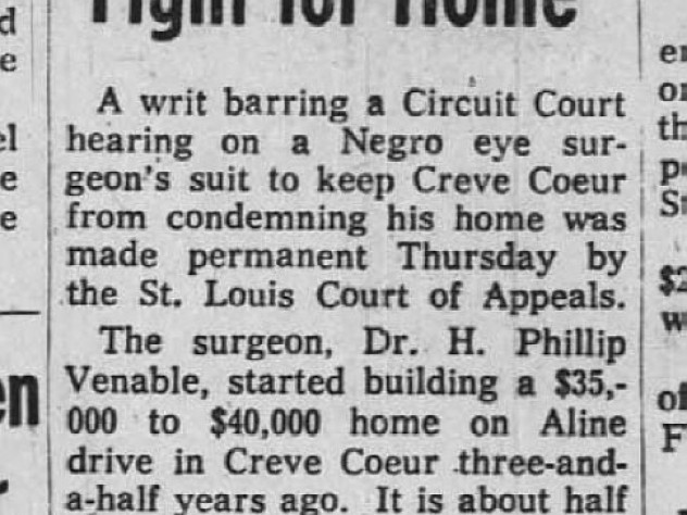 "Historic newspaper article headline ""Dr. Venable Loses Ruling in Fight for Home"""