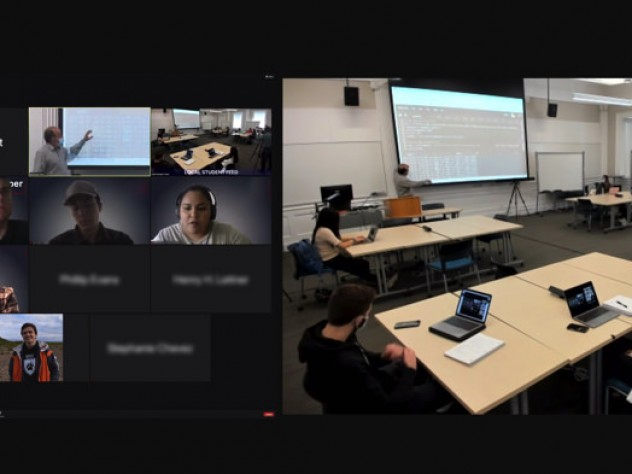 Side-by-side remote and in-room views during a hybrid class