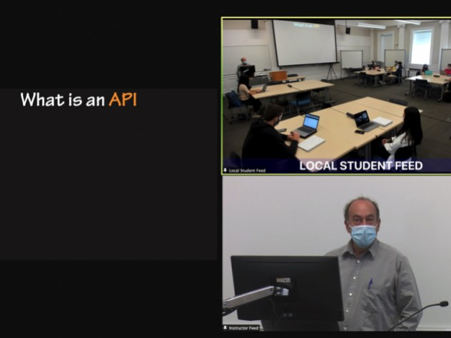 """Close-up views of the """"local student feed,"""" """"instructor feed,"""" and a shared screen during a hybrid class."""