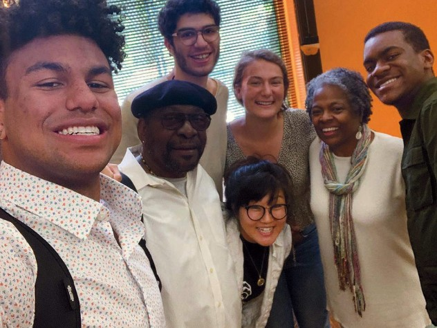 A group photo of the four Harvard undergraduates, including the author, with their project adviser and two local, older mentors