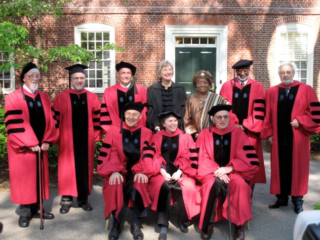 The 2011 Honorary Degree Recipients. Back row from left: John G.A. Pocock, Provost Steven Hyman, Sir Timothy John Berners-Lee, President Drew Faust, Her Excellency Ellen Johnson Sirleaf, David Satcher, and Plácido Domingo. Front row from left: Dudley Herschbach, Rosalind Krauss, and James R. Houghton. Not pictured: The Honorable Ruth Bader Ginsburg