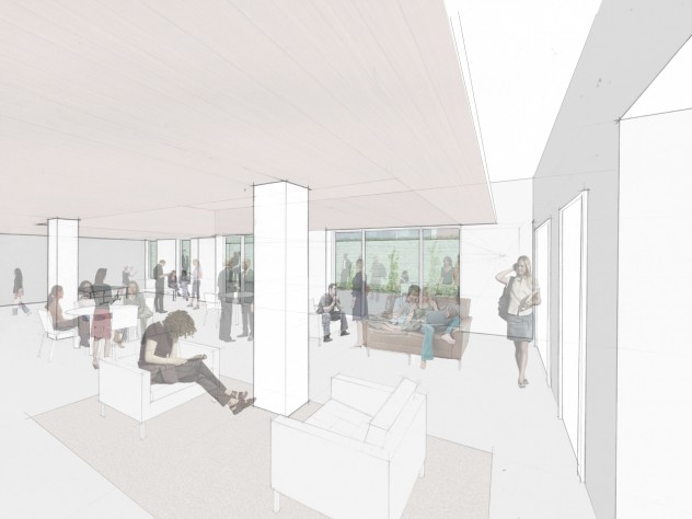 A rendering of the new multipurpose social and academic space to be created in the lower level of Old Quincy, looking toward the exterior terrace; the space is shown to the right in the architect's floorplan for the renovation of that lower level (click second thumbnail below).